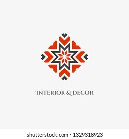 Rhombus mosaic emblem. Vector sign with geometric ornament for interior and decor logo design