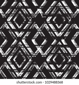 Rhombus Paint Brush Strokes Seamless pattern. Vector Abstract Grunge background. Black and white