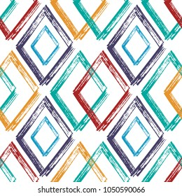 Rhombus Paint Brush Strokes Seamless pattern. Colorful Vector Abstract Grunge background