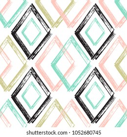 Rhombus Paint Brush Strokes Seamless pattern. Colorful Abstract Grunge Vector background
