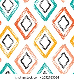 Rhombus Paint Brush Strokes Vector Seamless pattern. Colorful Abstract Grunge background