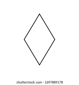 Rhombus sign. Simple geometric shapes for kids sign.