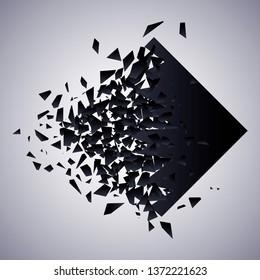 Rhombus in splinters cloud. Abstract dark explosion. Vector illustration