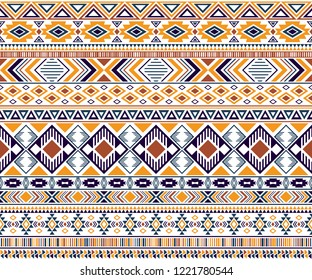 Rhombus and triangle symbols tribal ethnic motifs geometric vector background. Bohemian gypsy tribal motifs clothing fabric textile print traditional design with triangles