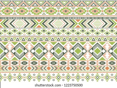 Rhombus and triangle symbols tribal ethnic motifs geometric seamless background. Modern gypsy tribal motifs clothing fabric textile print traditional design with triangles
