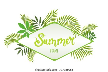 Rhombus tropical frame, template with place for text. Summer lettering. Vector illustration, isolated on white background.