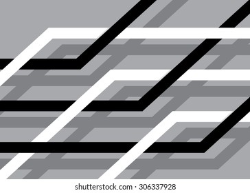 Rhombuses black and white on a gray background with a shadow