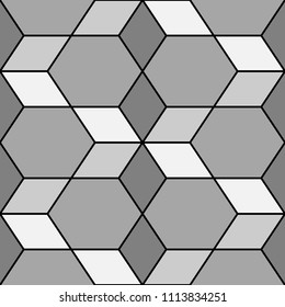 Rhombuses, hexagons, diamonds, lozenges. Mosaic. Flooring background. Ethnic tiles motif. Geometric wallpaper. Polygons backdrop. Digital paper, web design, textile print. Seamless abstract pattern.
