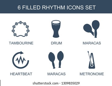 rhythm icons. Trendy 6 rhythm icons. Contain icons such as tambourine, drum, maracas, heartbeat, metronome. rhythm icon for web and mobile.