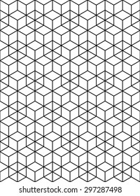 Rhythmic contrast textured endless pattern with cubes, continuous black and white geometric background.