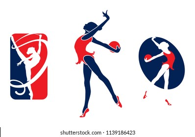 Rhythmic gymnastic sportsmen, sports icons, sports logos.illustration.