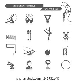 Rhythmic gymnastics and acrobatic fitness exercises black icons set isolated vector illustration