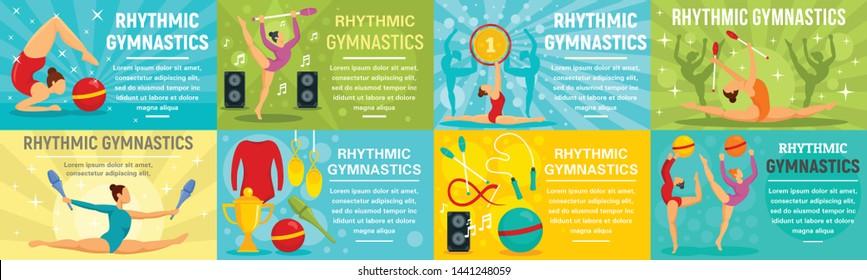 Rhythmic gymnastics banner set. Flat illustration of rhythmic gymnastics vector banner set for web design