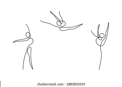 Rhythmic gymnastics in continuous line art drawing style. Abstract figures of gymnasts. Minimalist black linear design isolated on white background. Vector illustration