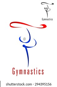 Rhythmic gymnastics emblem or symbol design with abstract blue silhouette of dancing gymnast with red ribbon