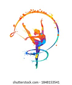 Rhythmic gymnastics girl with ribbon. Vector dancer silhouette of splash paint