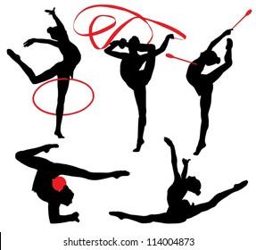 Rhythmic Gymnastics Silhouette on white background