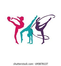 Rhythmic gymnastics silhouette sport vector illustration