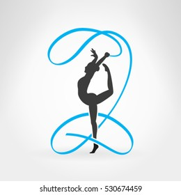 Rhythmic gymnastics. Sportswoman with ribbon. Design vector illustration.
