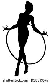 rhythmic gymnasts with hoops girl gymnast