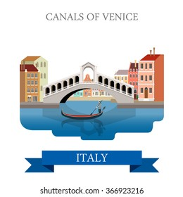 Rialto Bridge Canals of Venice in Italy. Flat cartoon style gondola historic sight showplace attraction web vector illustration template. World countries cities vacation travel sightseeing collection.