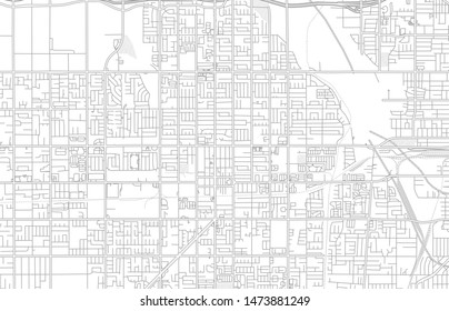Rialto, California, USA, bright outlined vector map with bigger and minor roads and steets created for infographic backgrounds.