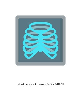 rib skeleton x-ray bones flat icon