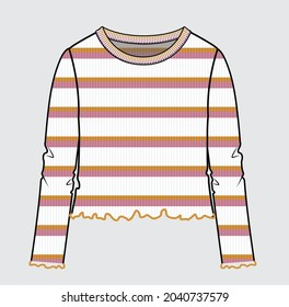 RIBBED STRIPE CROP TOP FOR TEENS AND GIRLS
