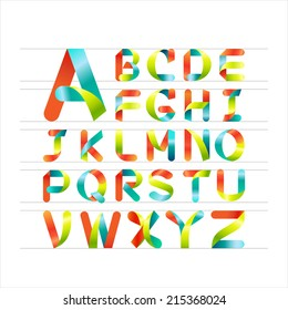 Ribbon alphabet colorful font, Capital letter A, B, C, D, E, F, G, H, I, J, K, L, M, N, O, P, Q, R, S, T, U, V, W, X, Y, Z. Vector illustration.