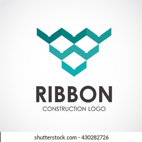 Ribbon arrow of construction abstract vector and logo design or template line business icon of company identity symbol concept