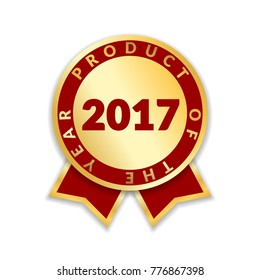 Ribbon award best product of year 2017. Gold ribbon award icon isolated white background. Best product golden label for prize, badge, medal, guarantee quality product Vector illustration