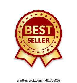 Ribbon award best seller. Gold ribbon award icon isolated white background. Bestseller golden tag sale label, badge, medal, guarantee quality product, business certificate Vector illustration