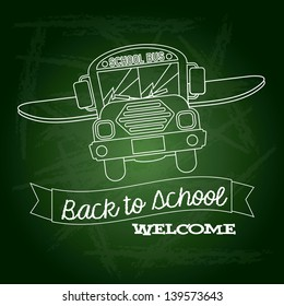 ribbon back to school welcome over green background vector illustration