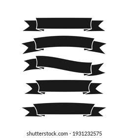 Ribbon banner icon set. Ribbon black silhouette collection. Flat style vector isolated on white