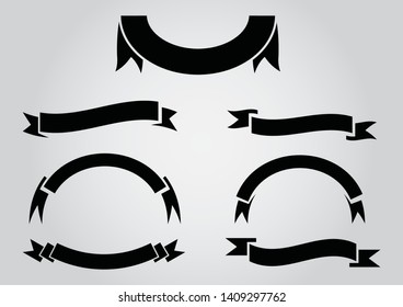 ribbon banner icon,flat design  isolated on a gray background,Fill and stroke colors are global,Vector illustration. Place for your text. Ribbons for business and design. Design elements
