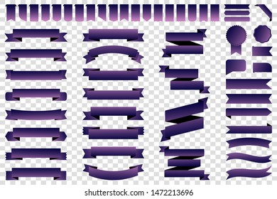 Ribbon banner label purple vector icon isolated design sale set on white background. Ribbon cutting vector icon vintage collection. Ribbon bow design symbol template for stand, app, web, stand, tag
