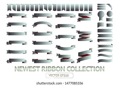 Ribbon banner label silver vector icon isolated design sale set on white background. Ribbon cutting vector icon vintage collection. Ribbon bow design symbol template for stand, app, web, stand, tag