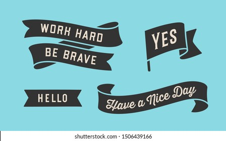 Ribbon Banner. Set of black ribbon banner with text, phrase. Black isolated vintage old school silhouette ribbon with text Yes, Hello. Graphic elements for design message. Vector Illustration
