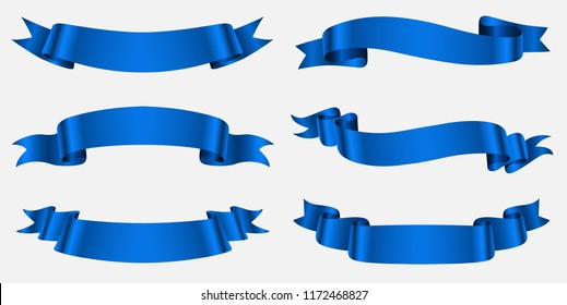 Ribbon banner set. Blue ribbons.Vector illustration.