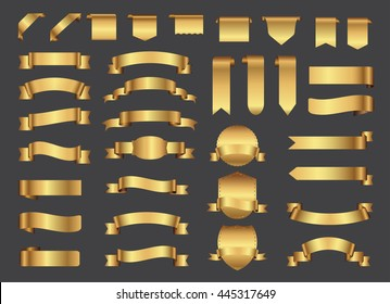 Ribbon banner set. Golden ribbons.Vector illustration.