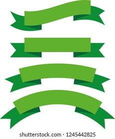 Ribbon banner set green ribbons vector illustration set of ribbons