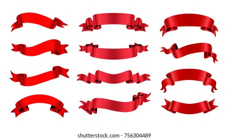 Ribbon banner set. Red ribbons.Vector illustration.