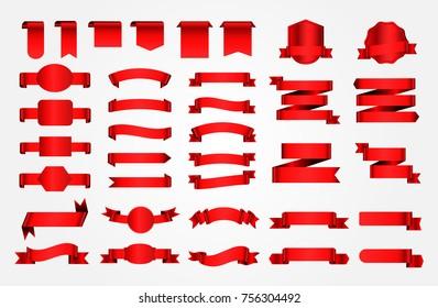 Ribbon banner set. Red ribbons.Vector illustration.