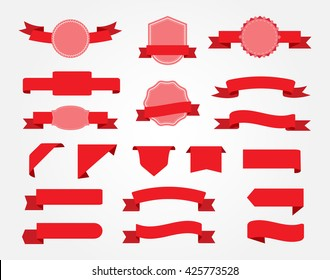 Ribbon banner set.Red ribbons.Vector illustration.