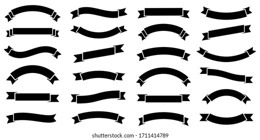 Ribbon banner set. Simple ribbons. Vector illustration
