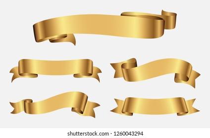 Ribbon banner set.Gold ribbons.