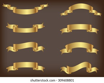 Ribbon banner set.Golden ribbons.Vector illustration.