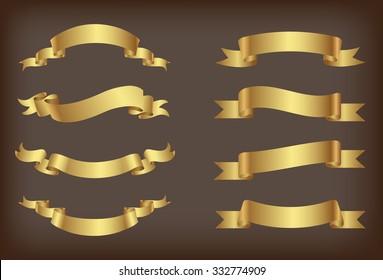 Ribbon banner set.Golden ribbons.Vector illustration.