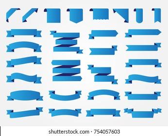 Ribbon banner set.Vector blue ribbons.