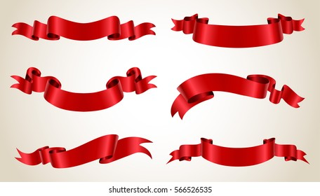 Ribbon banner set.Vector red ribbons.Vector illustration.